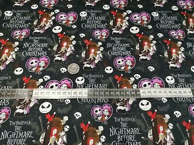 £9.99 • Buy Jack & Sally The Nightmare Before Christmas  Cotton Fat Quarter. Masks & Crafts