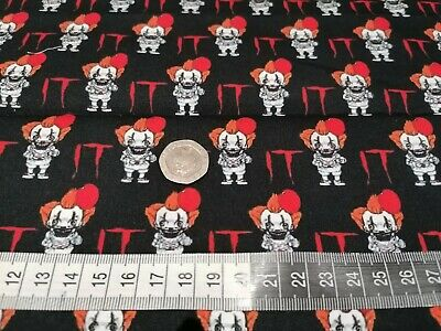 IT The Clown High Quality Cotton Fat Quarters Perfect For Facemasks. Halloween  • 9.99£