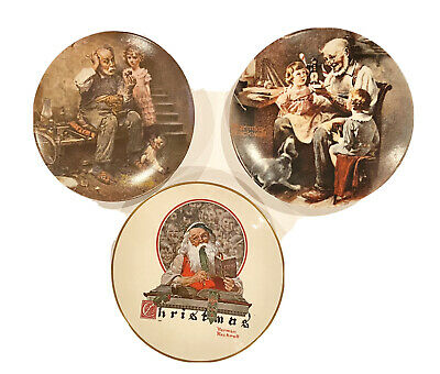 $ CDN12.12 • Buy Norman Rockwell Collectible Plates. Lot Of 3. Cobbler, Toy Maker, Christmas