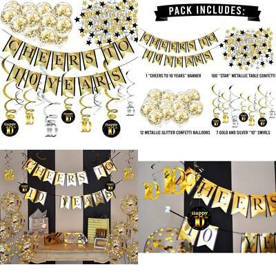 10Th Birthday And Anniversary Decorations Party Pack - Cheers To 10 Years Banner • 16.22£