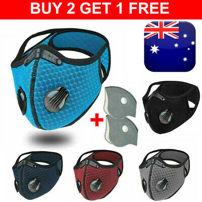 AU13.55 • Buy Face Mask Reusable Washable Anti Pollution PM2.5 One/two Air Vent With Filter AU