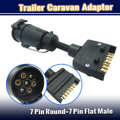 AU15.95 • Buy 7pin Round /7 Pin Flat Male Socket Plug Trailer Adaptor Caravan Wiring Connector