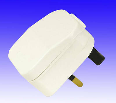EURO 2 Pin Plug To 3 Pin UK Plug Adapter UK. WHITE • 2.99£