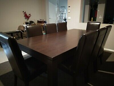 AU400 • Buy Solid Hardwood Dining Table + 8 PU Leather Chairs Black Brown