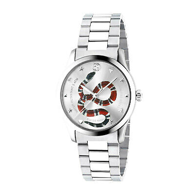 AU899.95 • Buy NEW Genuine GUCCI G-Timeless 38mm Snake Silver Metal Strap Mens Watch YA1264076