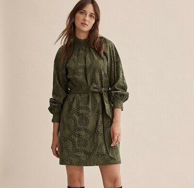 AU59.99 • Buy NWT Country Road Khaki Broderie Dress [6, 8, 12, 14,16] Cotton Long Sleeve Green