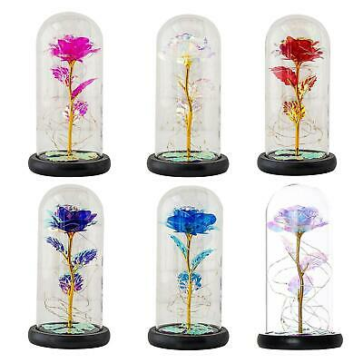AU18.28 • Buy LED Enchanted Rose Light Artificial Flower Glass Dome Lamp Valentine's Day