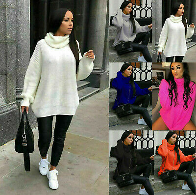 £14.50 • Buy Ladies Women's Chunky Knitted High Polo Roll Neck Baggy Oversized Jumper Dress
