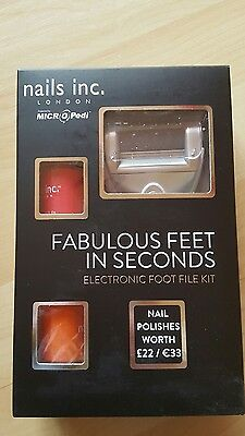 Nails Inc Electronic Foot File Kit - Powered By MICRO Pedi With 2 Nail Polishes • 35.99£