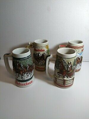 $ CDN127.16 • Buy Vintage 1982-1985 Budweiser Holiday Beer Stein Lot Of 4 Beautiful Condition