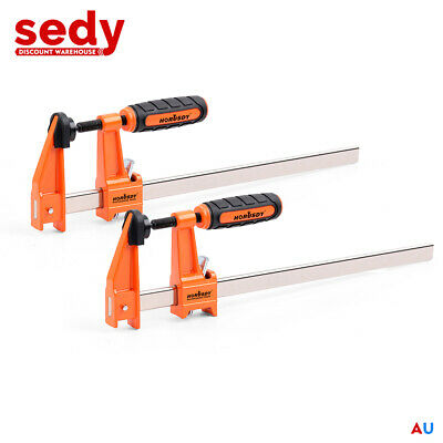AU24.99 • Buy 2Pc F-Clamps 60x300mm Heavy Duty Steel Bar Quick Release Grip Handle Woodworking