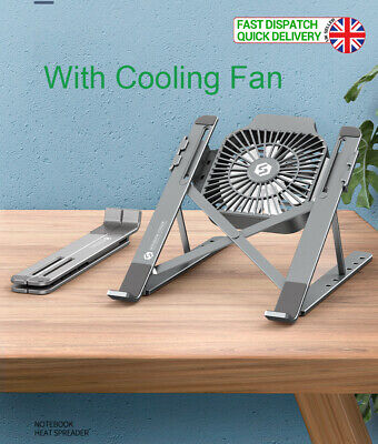 Foldable Portable Laptop Notebook IPad MAC Adjustable Stand Holder Cooling Fan  • 16.99£
