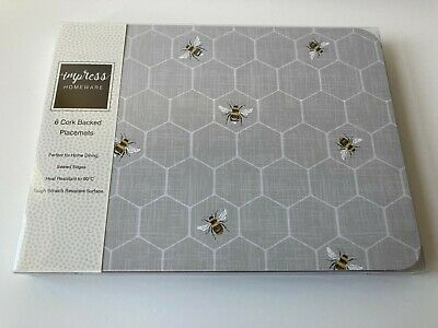 £15.99 • Buy Set Of 6 Grey Bumble Bee Placemats Dining Dinner Table Mats
