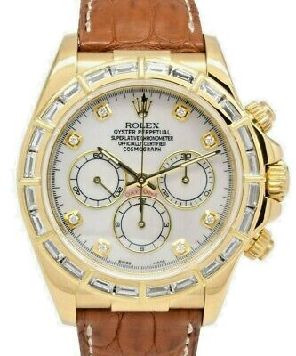 $ CDN36745.94 • Buy Rolex Daytona Zenith Chronograph 18k Gold & Diamond MOP Dial Mens Watch U 16518