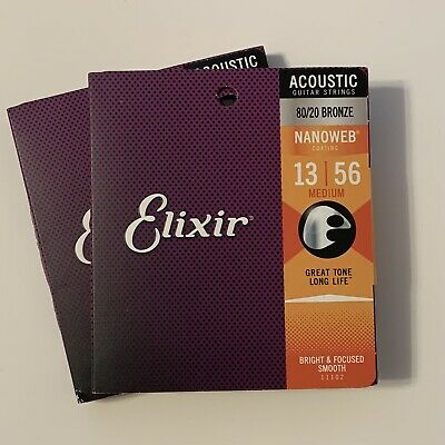 $ CDN30.61 • Buy 2 Sets ELIXIR  80/20 Bronze Acoustic Guitar Strings NANOWEB Coating, Medium