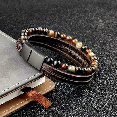 Mens Brown Leather, Gemstone Bracelet Stainless Steel Magnetic Clasp 7.5- 8inch • 13.99£