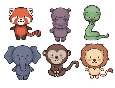 £2.99 • Buy 12 X Cute Jungle Animals Cupcake Toppers Picks Cake Decorations.