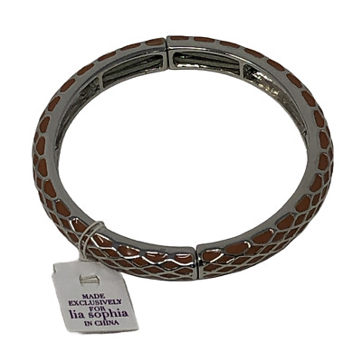 $ CDN15.17 • Buy Lia Sophia Burnt Orange Silver Tone Stretch Bangle Bracelet Honey Lust