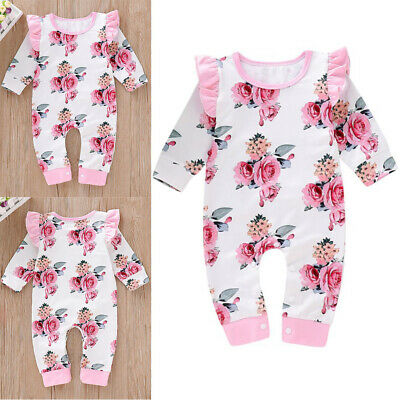 Newborn Baby Girls Long Sleeve Floral Printed Ruffle Jumpsuit Romper Outfits UK • 5.99£