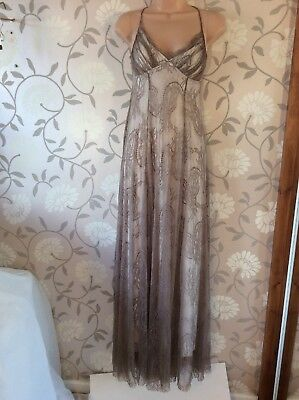 Evening Dress Size 34 ( 6 ) Mink Lace Long Maxi Strappy Prom Bridesmaid Desray • 14£