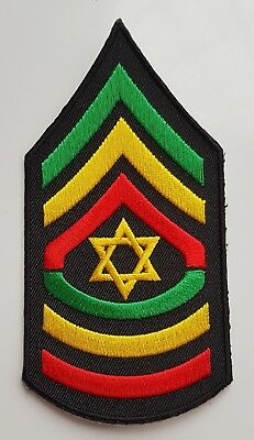 RASTA SERGEANT STYLE STRIPES PATCH Embroidered Cloth Badge Star Of David Jah • 2.99£