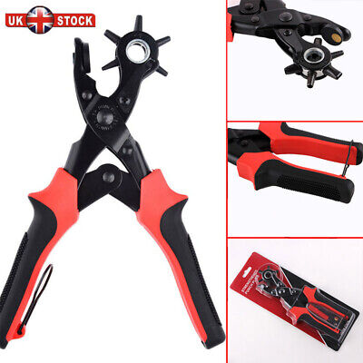 Revolving Leather Hole Punch Pliers Puncher Leather Cut Belt Eyelet 6 Sizes Tool • 7.29£