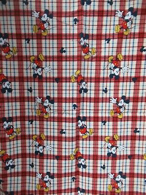 DISNEY Mickey Mouse   Mickey On Woven Plaid  Cotton Fabric  1 Y By 40 W  RARE! • 10.13£