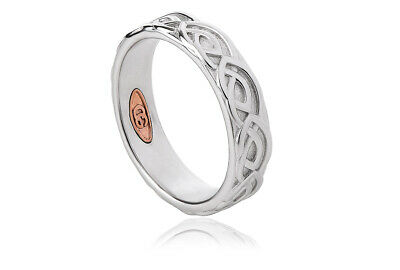 NEW Welsh Clogau Silver & Rose Gold 5mm Annwyl Wedding Band £40 Off! Size X • 69£