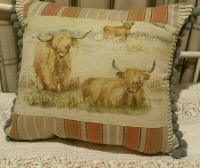Voyage Highland Cow Linen  Cushion Grey Jumbo Pom Pom Trim Beige Suede Gift • 15.95£