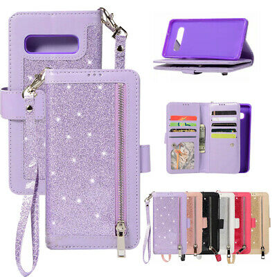 AU21.99 • Buy For Samsung S20FE S21+ S10 S9 S8 Note 20 Zipper Leather Glitter Wallet Case Cove