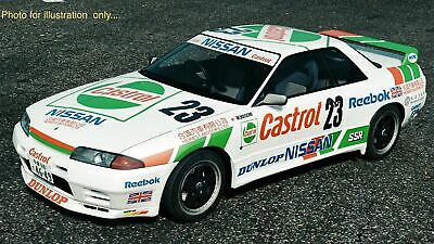 1:10 RC Clear Lexan Body Castrol Nissan GTR R32 + Decals Suit Tamiya Electric • 41.29£
