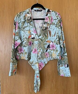 £20 • Buy Zara Animal Print Tropical Satin Knotted Cropped Shirt Blouse Size XS