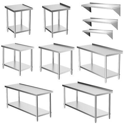 Commercial Catering Table Stainless Steel Work Bench Kitchen Food Shelf Storage • 69.95£