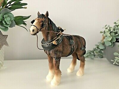 SHIRE HORSE Traditional Harness Resin Ornament Figurine Figure Statue Gift Boxed • 17.95£