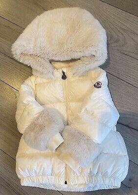 £210 • Buy Moncler Baby Girls Ivory Fur Coat 100% Authentic 12/18 Months