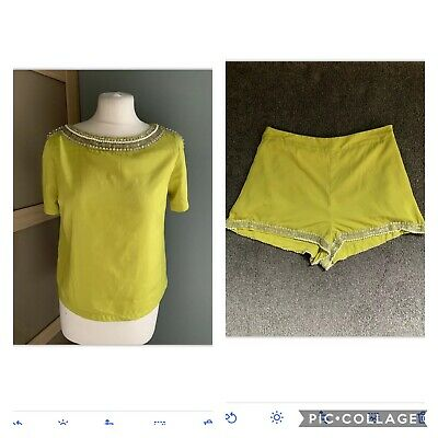 £11.99 • Buy Topshop Lime Green Beaded Embellished Shorts & Top  Size 16 12/14 2 Piece