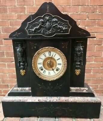 Very Large American  Slate, Marble 8 Day Striking Mantel Clock  • 125£