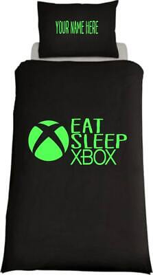 Personalised EAT SLEEP XBOX Inspired Single Bed Duvet Cover Gaming Ps4  • 24.99£