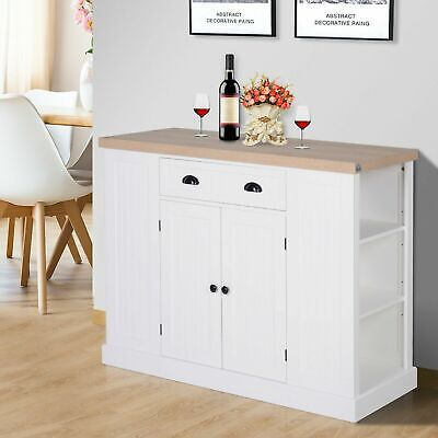 White Kitchen Island Large Storage Cabinet Buffet Sideboard Breakfast Bar Table • 244.99£