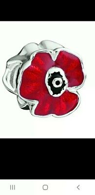 Retired Genuine Chamilia Sterling Silver 925 Red Blooming Poppy Bracelet Charm • 11.10£