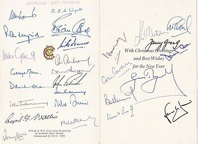 W.G Grace Card Signed By 27 England Test Cricket Captains COWDREY MAY CARR WYATT • 275£