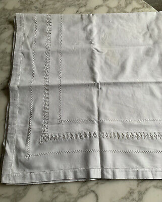 Vintage French Cotton Hemstitch Detail Table Cloth Used In Excellent Condition • 12.50£