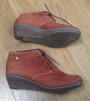 Clarks Tan Nubuck Leather Wedge Ankle Boots Size 5 • 18.99£