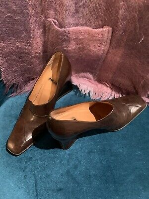Audley Vintage Brown Leather Court Shoes 80s Size 5 • 19.99£