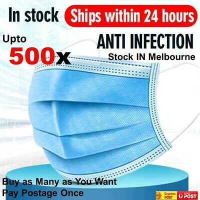 AU11.89 • Buy Face Mask Protective Anti Bacterial Filter 3 Layer Mouth Masks Cover UPTO 500PCs