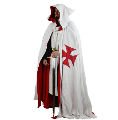 Medieval Knight Templar Cap With Hood Tunic And Cloak For Men • 86.99£