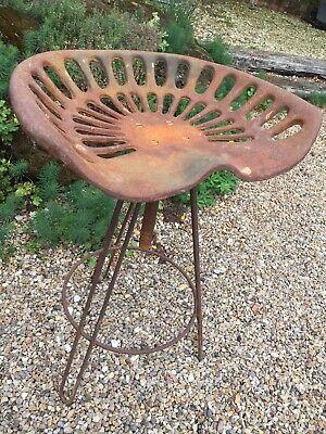 Vintage Rustic Metal Bar Stool & Cast Iron Antique Salvage Style Tractor Seat • 85£