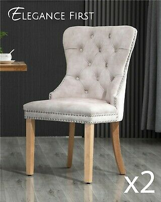 AU349 • Buy 2 X  Beige French Provincial Velvet Dining Chairs Upholstered Tufted Back Studs