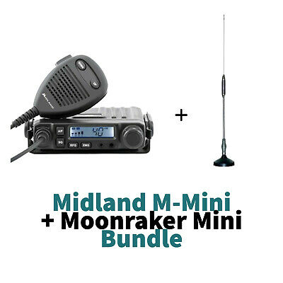 Midland M-Mini AM/FM Multimedia CB RADIO With Moonraker Mini CB Antenna Kit • 72.99£