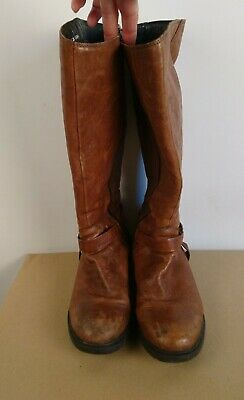 Clarks Tan Leather Wide Leg Fit Boots Size UK6 • 18.50£